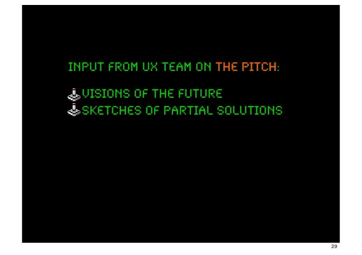 input from ux team on the pitch:                          pitch  visions of the future  sketches of partial solutions     ...