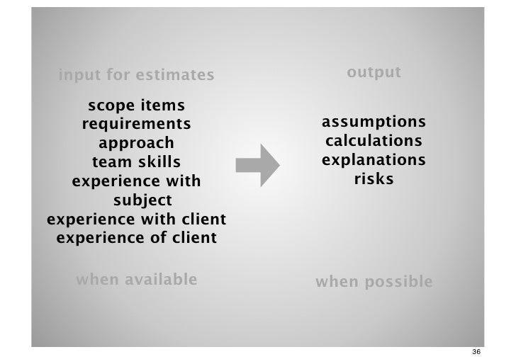 input for estimates        output     scope items    requirements         assumptions      approach           calculations...