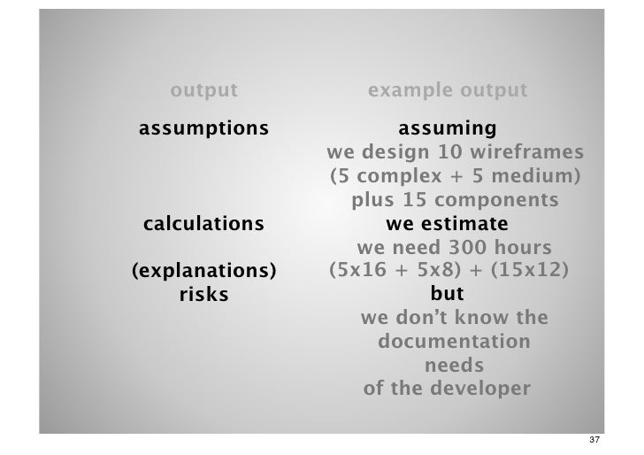 output           example outputassumptions              assuming                 we design 10 wireframes                 (...