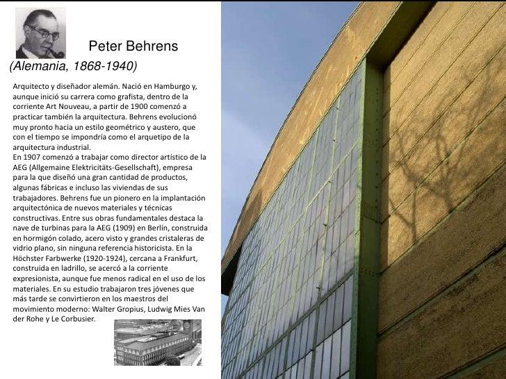 Peter Behrens(Alemania, 1868-1940)Arquitecto y diseñador alemán. Nació en Hamburgo y,aunque inició su carrera como grafist...