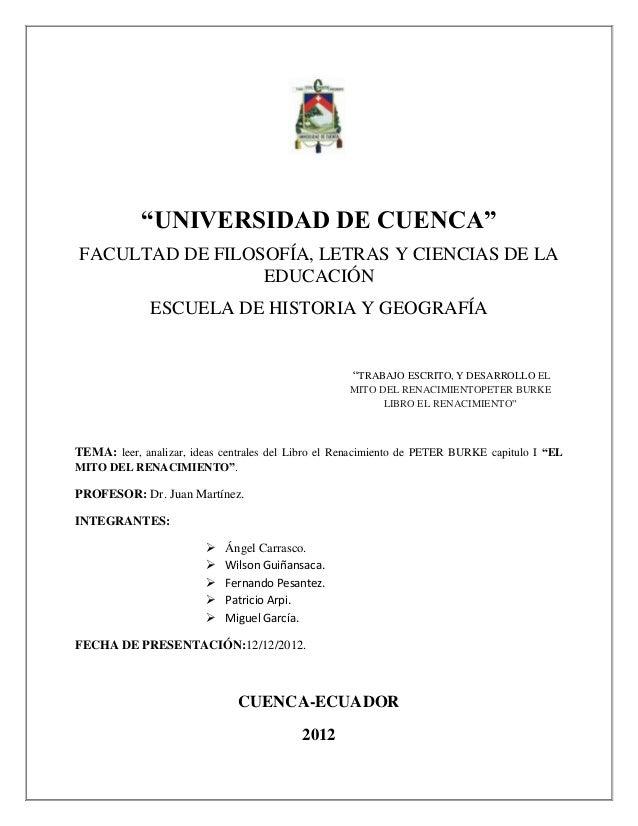 """""""UNIVERSIDAD DE CUENCA""""FACULTAD DE FILOSOFÍA, LETRAS Y CIENCIAS DE LA                 EDUCACIÓN              ESCUELA DE HI..."""