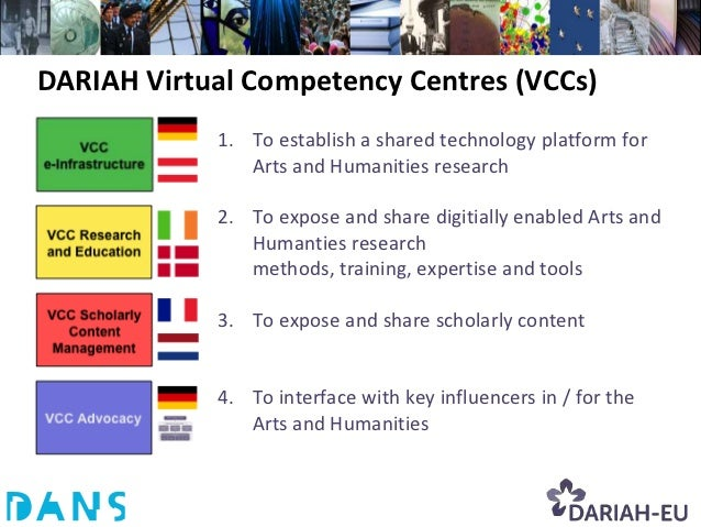 DARIAH Virtual Competency Centres (VCCs)            1. To establish a shared technology platform for               Arts an...