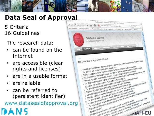 Certification           EUDAT RD-Alliance               International    E-IRG      APA  NeDiMAH         Community    Open...