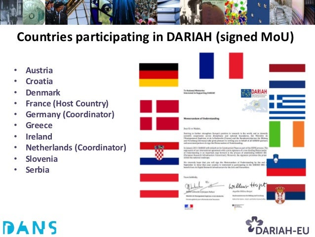 Countries participating in DARIAH (signed MoU)•   Austria•   Croatia•   Denmark•   France (Host Country)•   Germany (Coord...