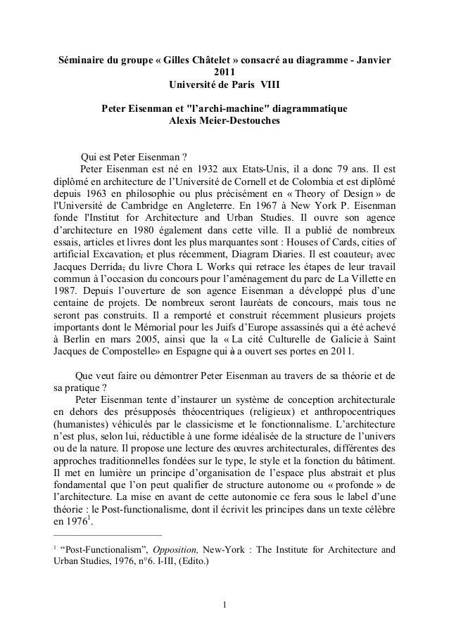 """Séminaire du groupe « Gilles Châtelet » consacré au diagramme - Janvier 2011 Université de Paris VIII Peter Eisenman et """"l..."""