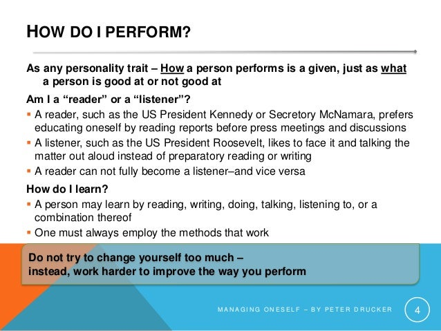 HOW DO I PERFORM? As any personality trait – How a person performs is a given, just as what a person is good at or not goo...