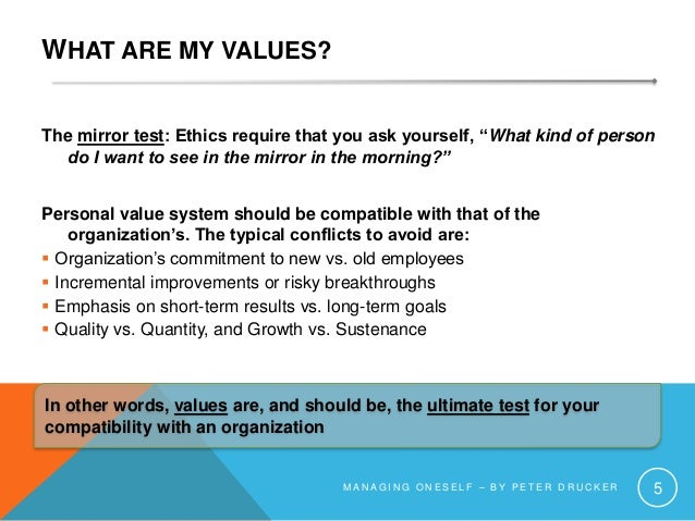"""WHAT ARE MY VALUES? The mirror test: Ethics require that you ask yourself, """"What kind of person do I want to see in the mi..."""