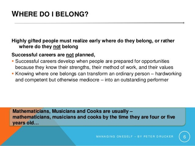 WHERE DO I BELONG? Highly gifted people must realize early where do they belong, or rather where do they not belong Succes...