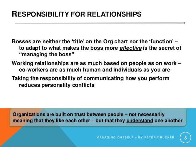 RESPONSIBILITY FOR RELATIONSHIPS Bosses are neither the 'title' on the Org chart nor the 'function' – to adapt to what mak...