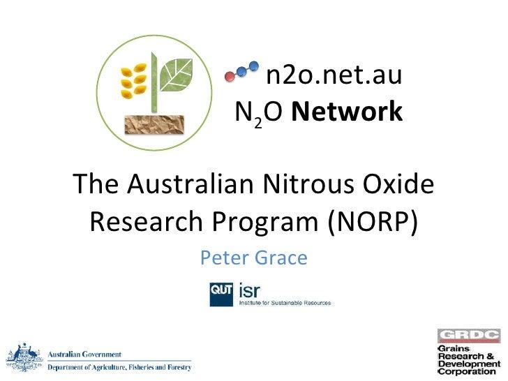 The Australian Nitrous Oxide Research Program (NORP) Peter Grace n2o.net.au N 2 O  Network