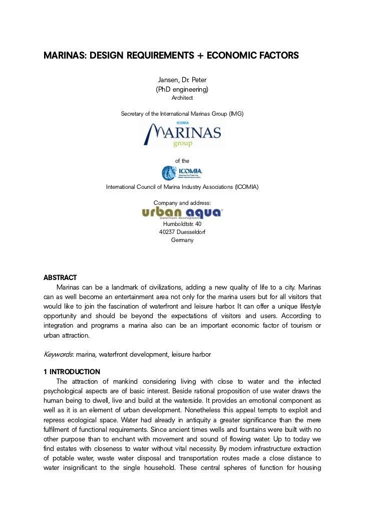 MARINAS: DESIGN REQUIREMENTS + ECONOMIC FACTORS                                           Jansen, Dr. Peter               ...