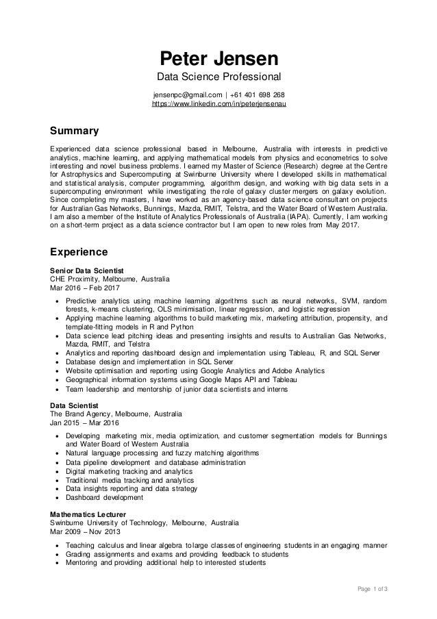 Resume – Data Scientist Resume