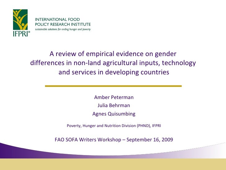 A review of empirical evidence on gender  differences in non-land agricultural inputs, technology  and services in develop...