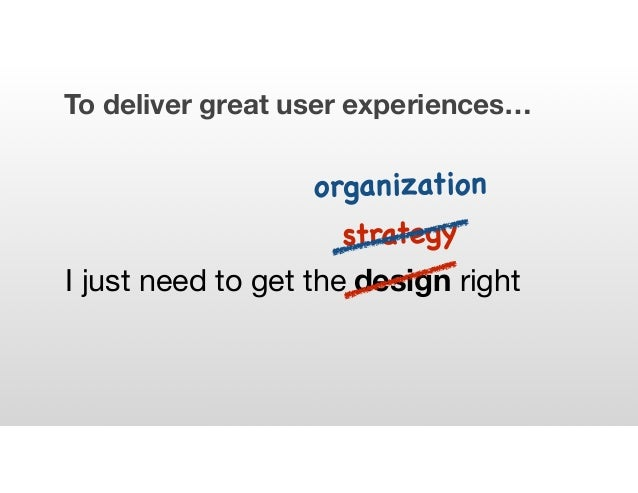 To deliver great user experiences… I just need to get the design right strategy organization
