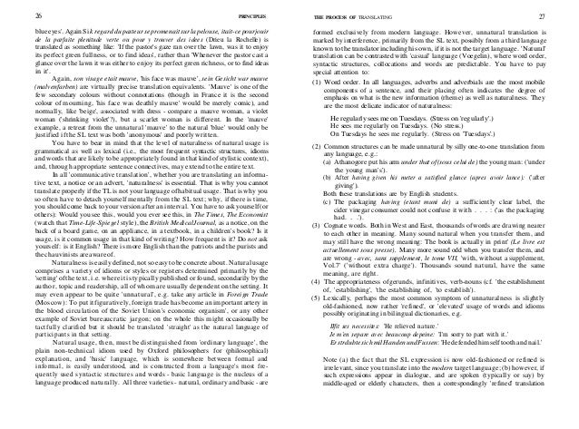 28 PRINCIPLES THE PROCESS OF TRANSLATING 29 is appropriate; (c) naturalness has a solid core of agreement, but the periphe...