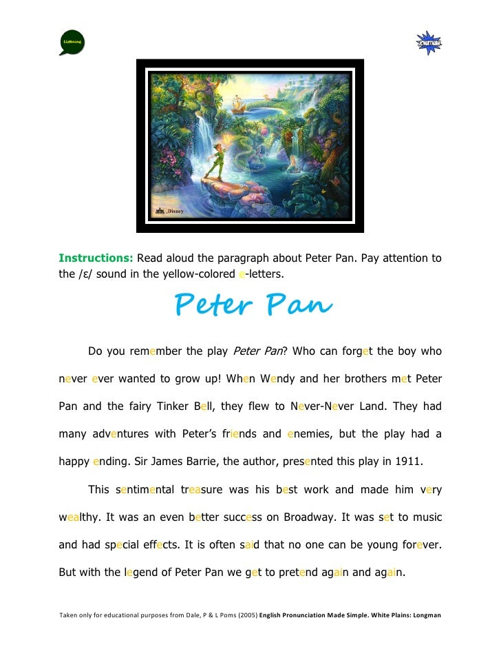 Instructions: Read aloud the paragraph about Peter Pan. Pay attention tothe /ɛ/ sound in the yellow-colored e-letters.    ...