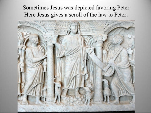 Sometimes Jesus was depicted favoring Peter. Here Jesus gives a scroll of the law to Peter.