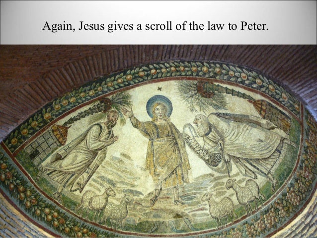 Again, Jesus gives a scroll of the law to Peter.