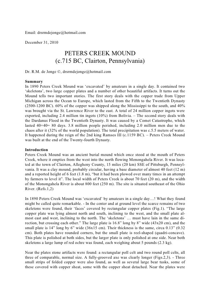 Email: drsrmdejonge@hotmail.comDecember 31, 2010                      PETERS CREEK MOUND                  (c.715 BC, Clair...