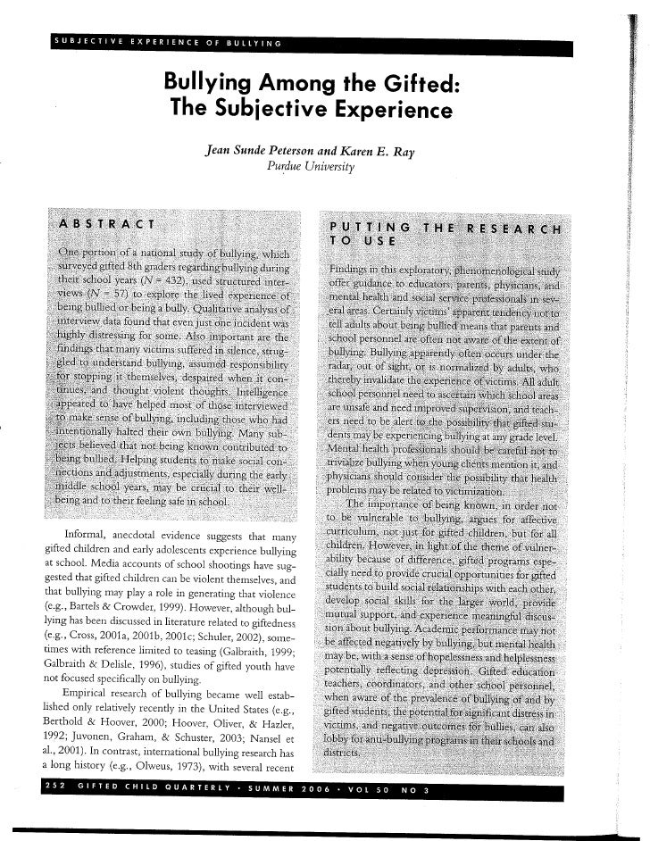 Peterson - Subjective Experience