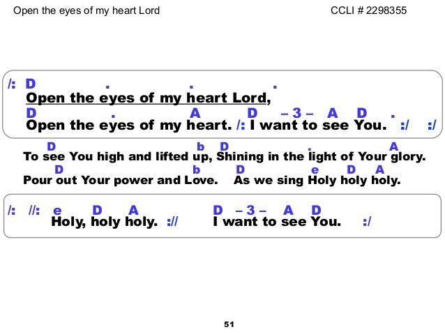 Attractive Open The Eyes Of My Heart Lord Chords Festooning ...