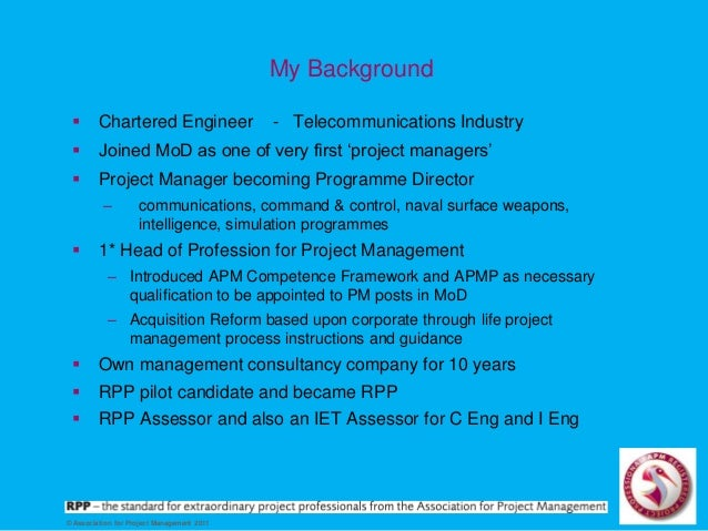 APM Registered Project Professional: what you need to know by Peter Wakeling, 14 Nov 2016, Southampton Slide 3