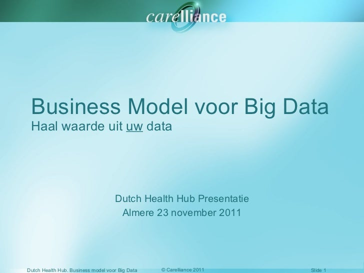 Business Model voor Big Data Haal waarde uit  uw  data Dutch Health Hub Presentatie Almere 23 november 2011