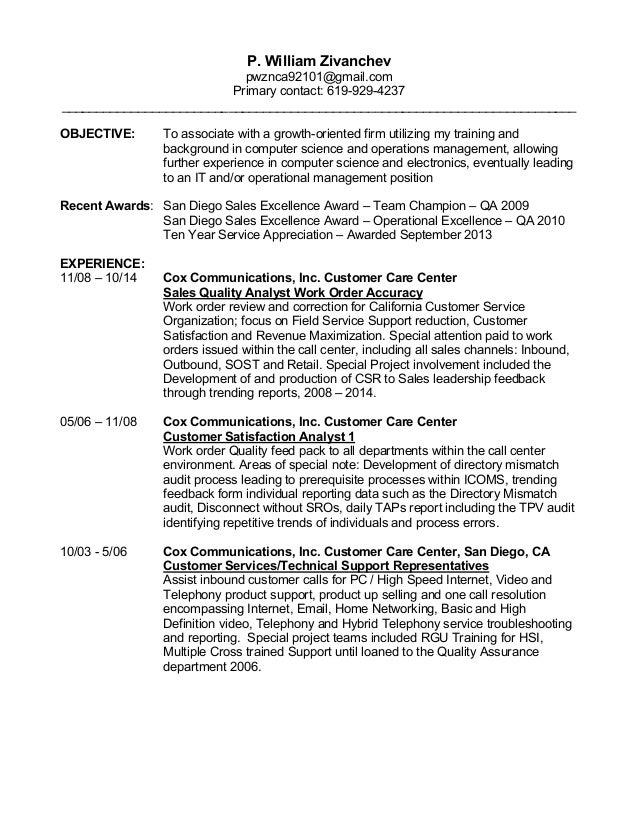 pete zivanche resume 2016