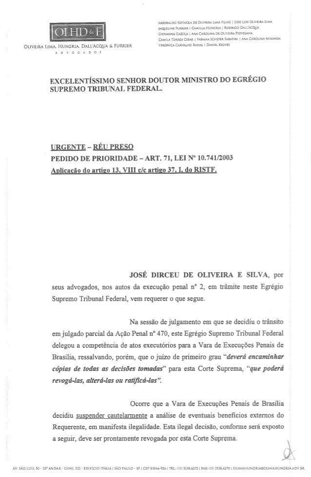 Petição de José Dirceu contra violação de seus direitos fundamentais