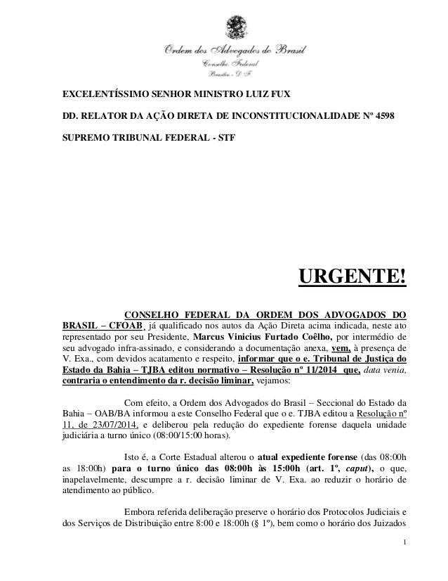 Petição da OAB pedindo suspensão do turnão no TJBA