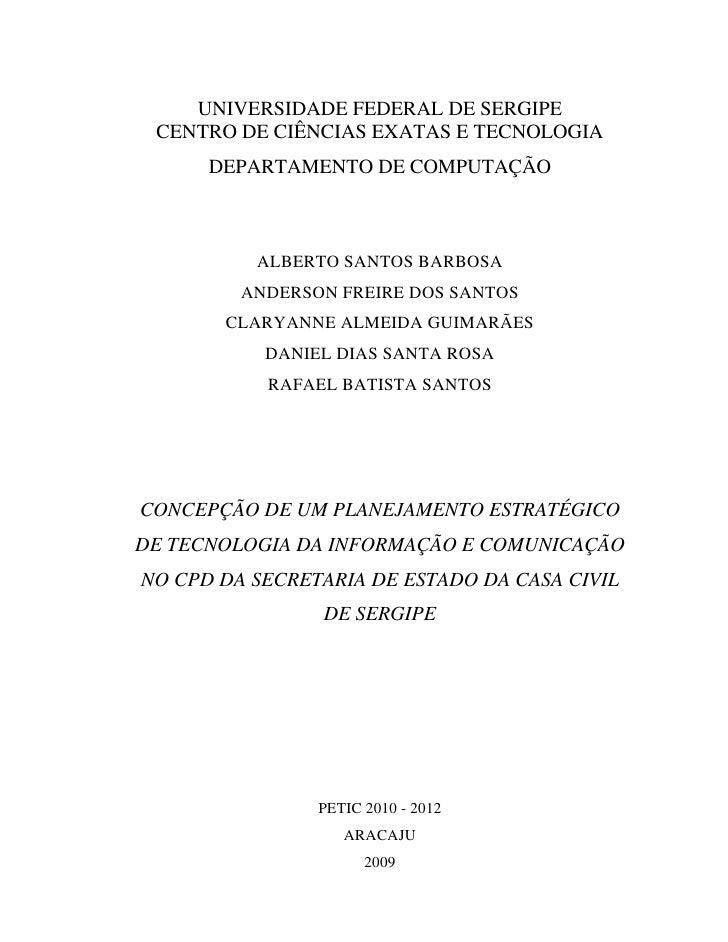 UNIVERSIDADE FEDERAL DE SERGIPE  CENTRO DE CIÊNCIAS EXATAS E TECNOLOGIA       DEPARTAMENTO DE COMPUTAÇÃO              ALBE...