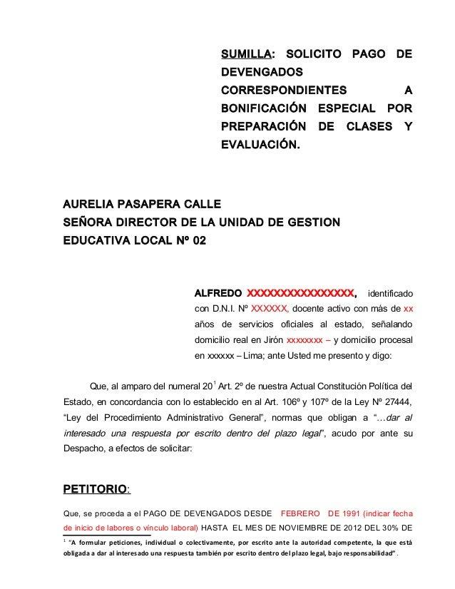 SUMILLA: SOLICITO PAGO DE DEVENGADOS CORRESPONDIENTES A BONIFICACIÓN ESPECIAL POR PREPARACIÓN DE CLASES Y EVALUACIÓN. AURE...