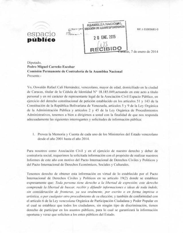 """espacio público 20 EHE.2015 Rif:J-31003681-0 """"as, 7 de enero de 2014 Diputado, Pedro Miguel Carreño Escobar Comisión Perma..."""