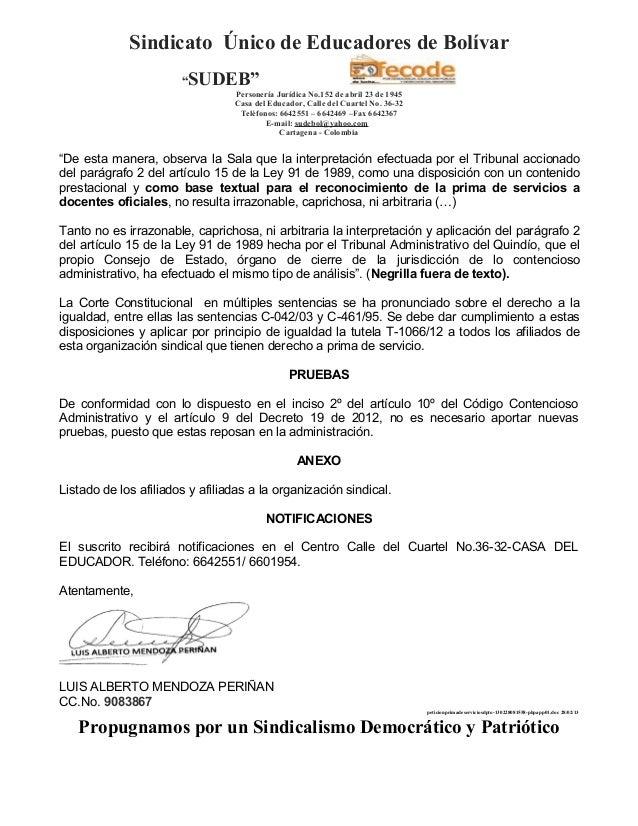 """Sindicato Único de Educadores de Bolívar                       """"SUDEB""""                                 Personería Jurídica..."""