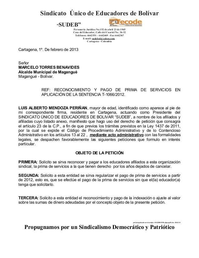 """Sindicato Único de Educadores de Bolívar                      """"SUDEB""""                               Personería Jurídica No..."""