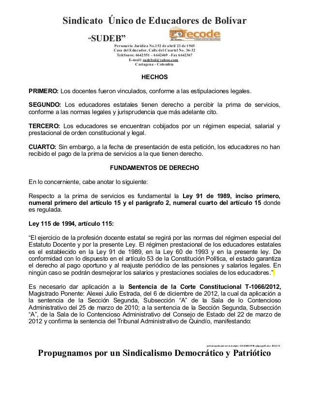 """Sindicato Único de Educadores de Bolívar                      """"SUDEB""""                                 Personería Jurídica ..."""