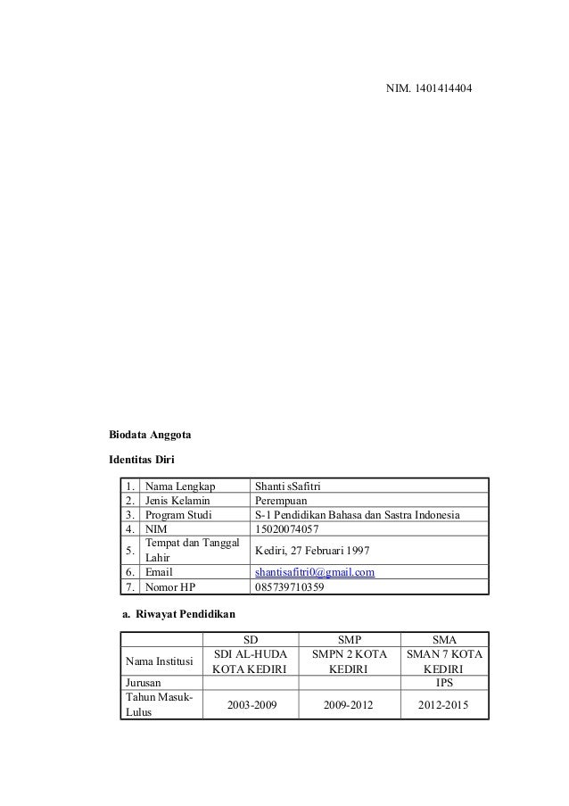 NIM. 1401414404 Biodata Anggota Identitas Diri 1. Nama Lengkap Shanti sSafitri 2. Jenis Kelamin Perempuan 3. Program Studi...