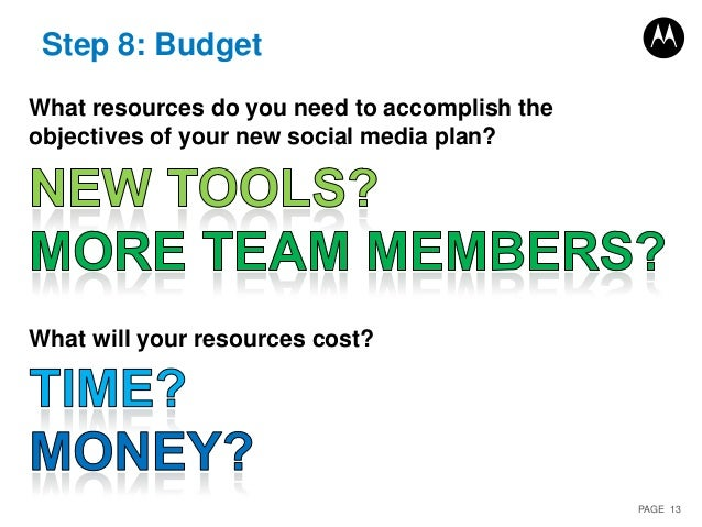 PAGE 13 Step 8: Budget What resources do you need to accomplish the objectives of your new social media plan? What will yo...
