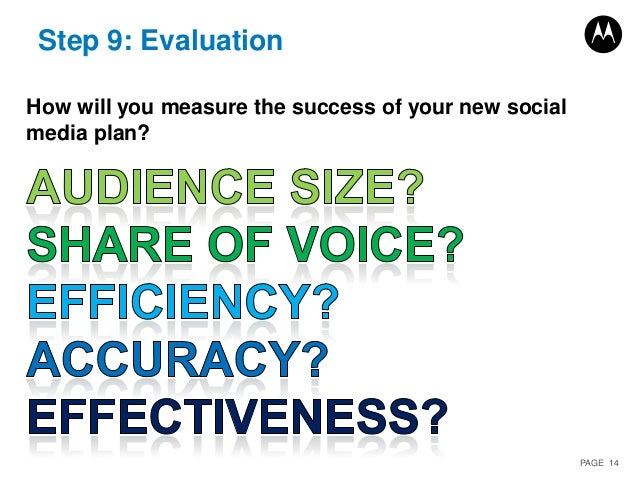 PAGE 14 Step 9: Evaluation How will you measure the success of your new social media plan?