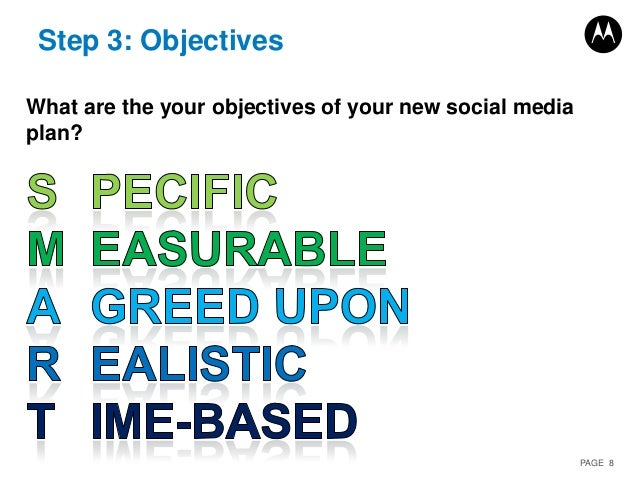 PAGE 8 Step 3: Objectives What are the your objectives of your new social media plan?