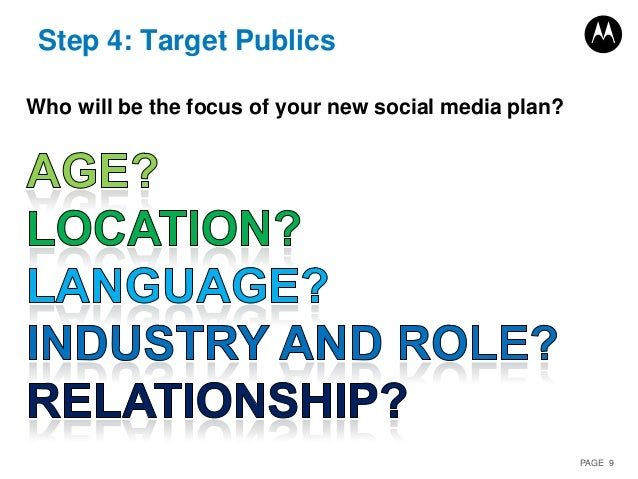PAGE 9 Step 4: Target Publics Who will be the focus of your new social media plan?