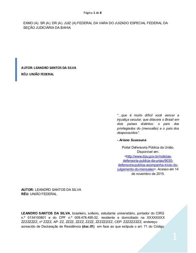 Página 1 de 8 1 EXMO (A). SR (A). DR (A). JUIZ (A) FEDERAL DA VARA DO JUIZADO ESPECIAL FEDERAL DA SEÇÃO JUDICIÁRIA DA BAHI...