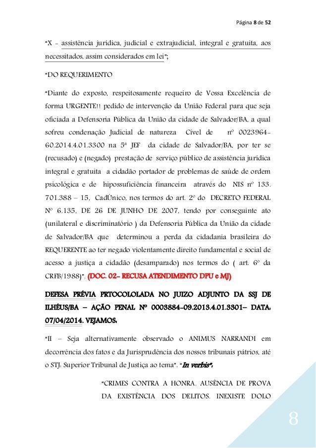 """Página 8 de 52 8 """"X - assistência jurídica, judicial e extrajudicial, integral e gratuita, aos necessitados, assim conside..."""