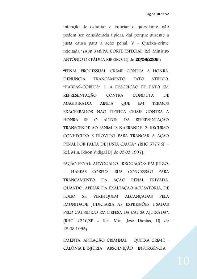 Página 10 de 52 10 intenção de caluniar e injuriar o querelante, não podem ser considerada típicas, daí porque ausente a j...