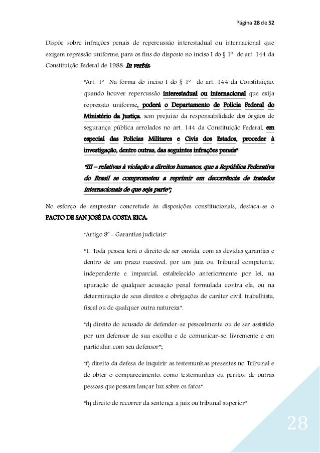 Página 28 de 52 28 Dispõe sobre infrações penais de repercussão interestadual ou internacional que exigem repressão unifor...