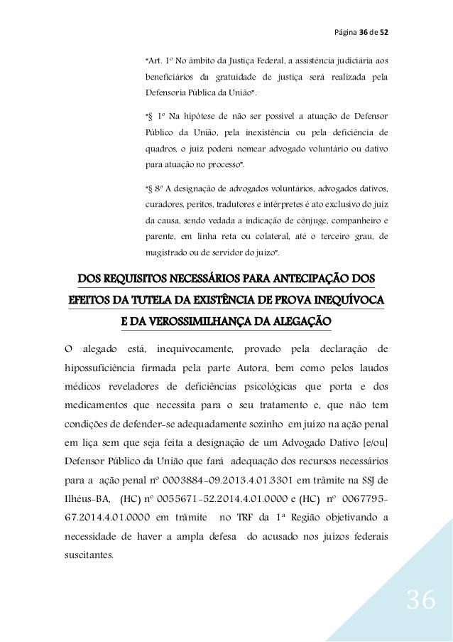 """Página 36 de 52 36 """"Art. 1º No âmbito da Justiça Federal, a assistência judiciária aos beneficiários da gratuidade de just..."""