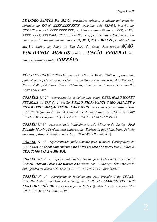 Página 2 de 52 2 RÉU Nº 1º - UNIÃO FEDERAL, pessoa jurídica de Direito Público, representada judicialmente pela Advocacia ...