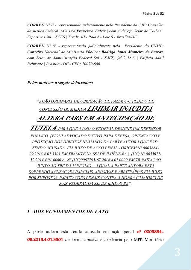 Página 3 de 52 3 CORRÉU Nº 8º - representando judicialmente pelo Presidente do CNMP: Conselho Nacional do Ministério Públi...