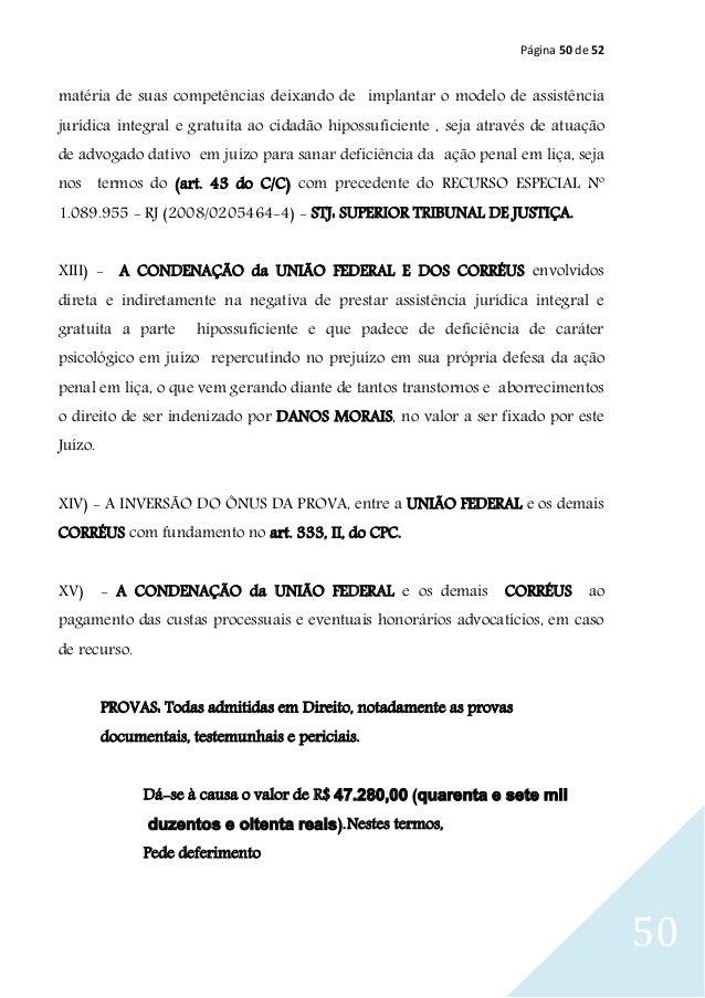 Página 50 de 52 50 matéria de suas competências deixando de implantar o modelo de assistência jurídica integral e gratuita...