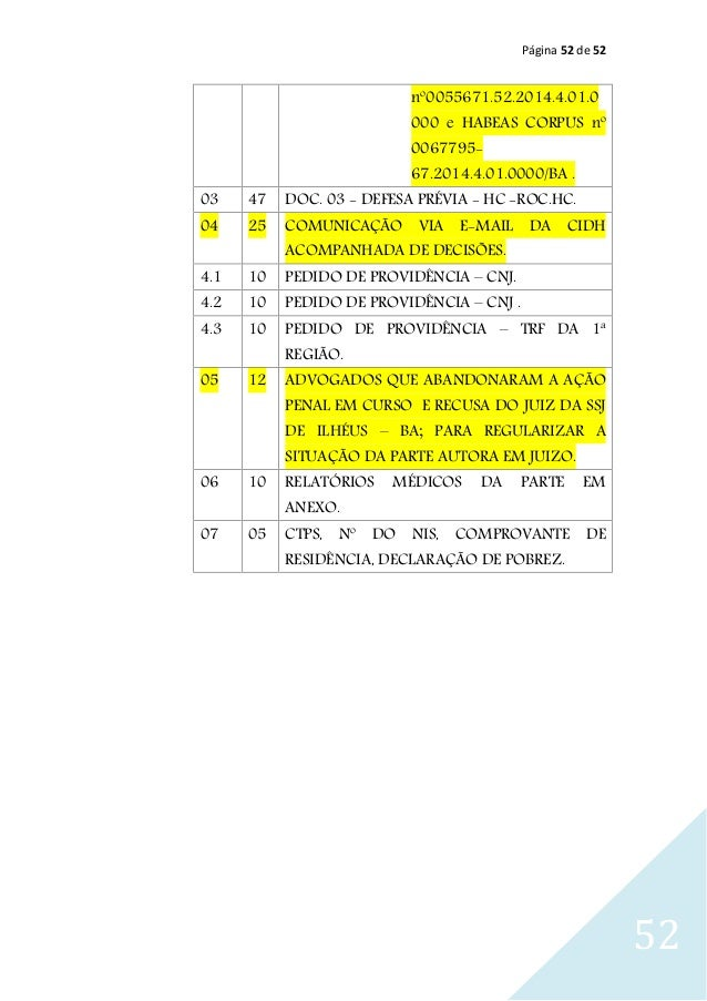 Página 52 de 52 52 nº0055671.52.2014.4.01.0 000 e HABEAS CORPUS nº 0067795- 67.2014.4.01.0000/BA . 03 47 DOC. 03 - DEFESA ...